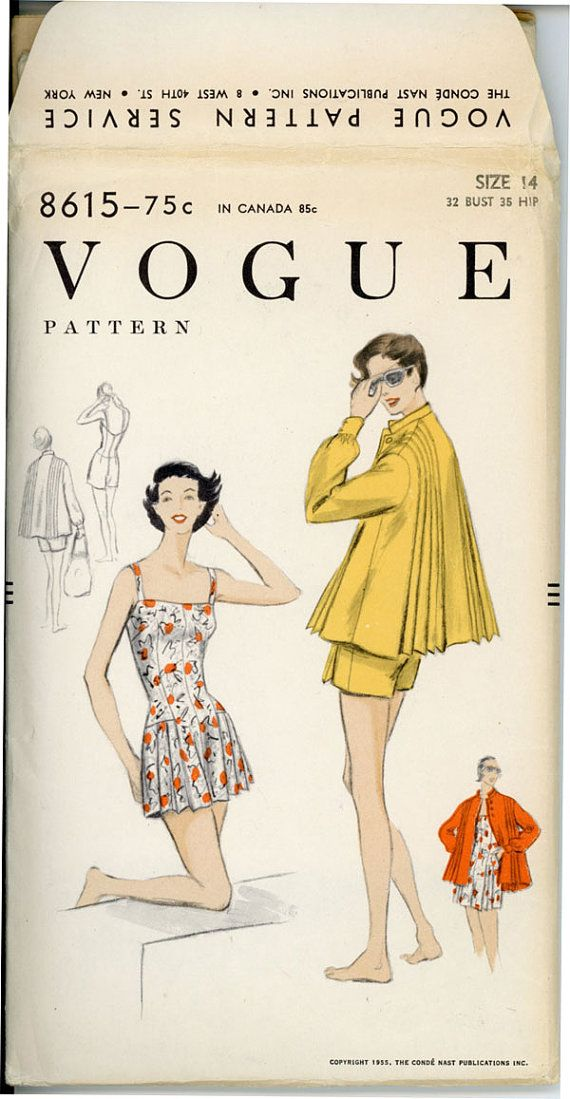 1950s Bathing Suit Pattern Vogue 8615 Bust 32 One by CynicalGirl ...