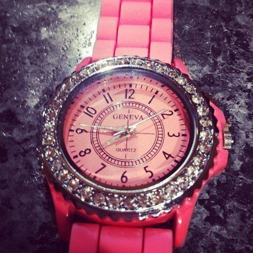 Pink Geneva watch❤