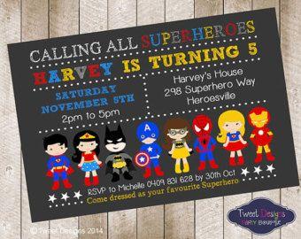 Superhero Boy Invitation Printable Birthday Invitation Superhero