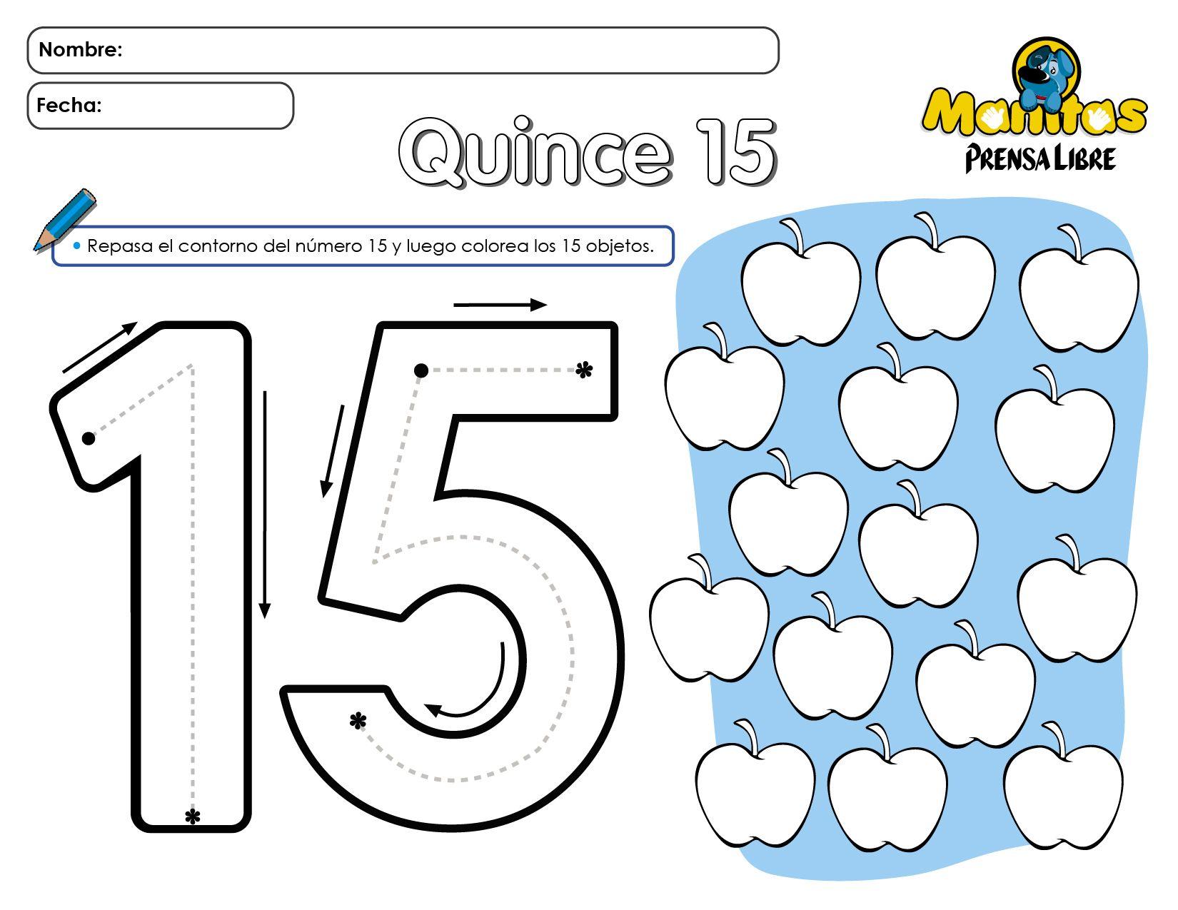 Número 15 | Matemáticas | Pinterest | Números, Trabajos para ...
