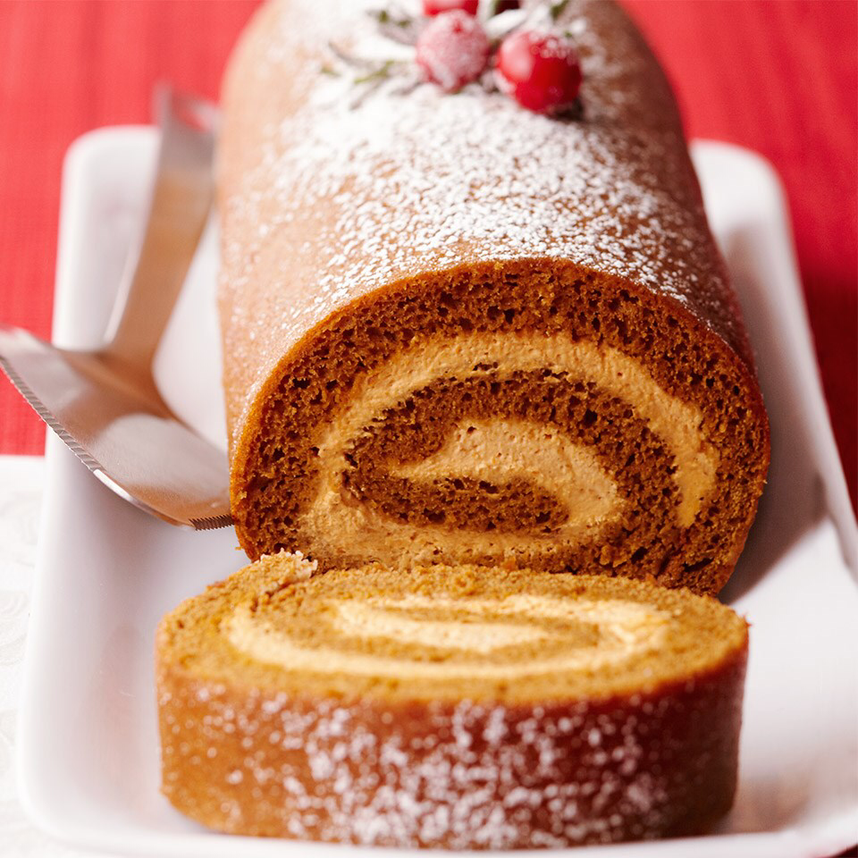 Gingerbread-Pumpkin Yule Log