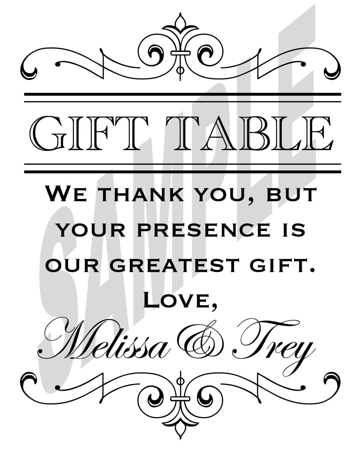Gift Table At Wedding Reception: Printable Wedding Reception Gift Table Sign