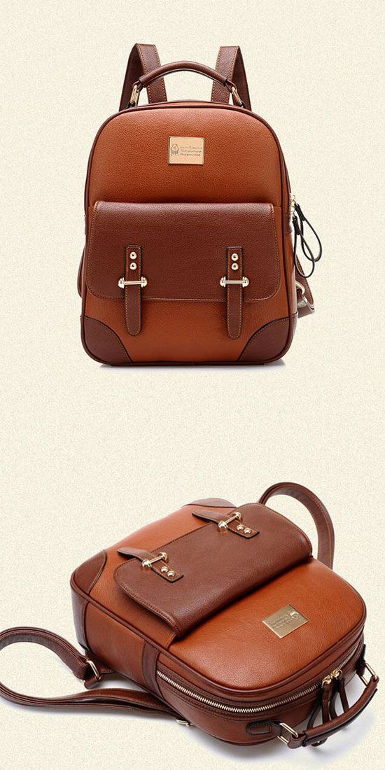 British Preppy Retro Brown Leather School Backpacks for big sale!  brown   leather   96ab90cee6