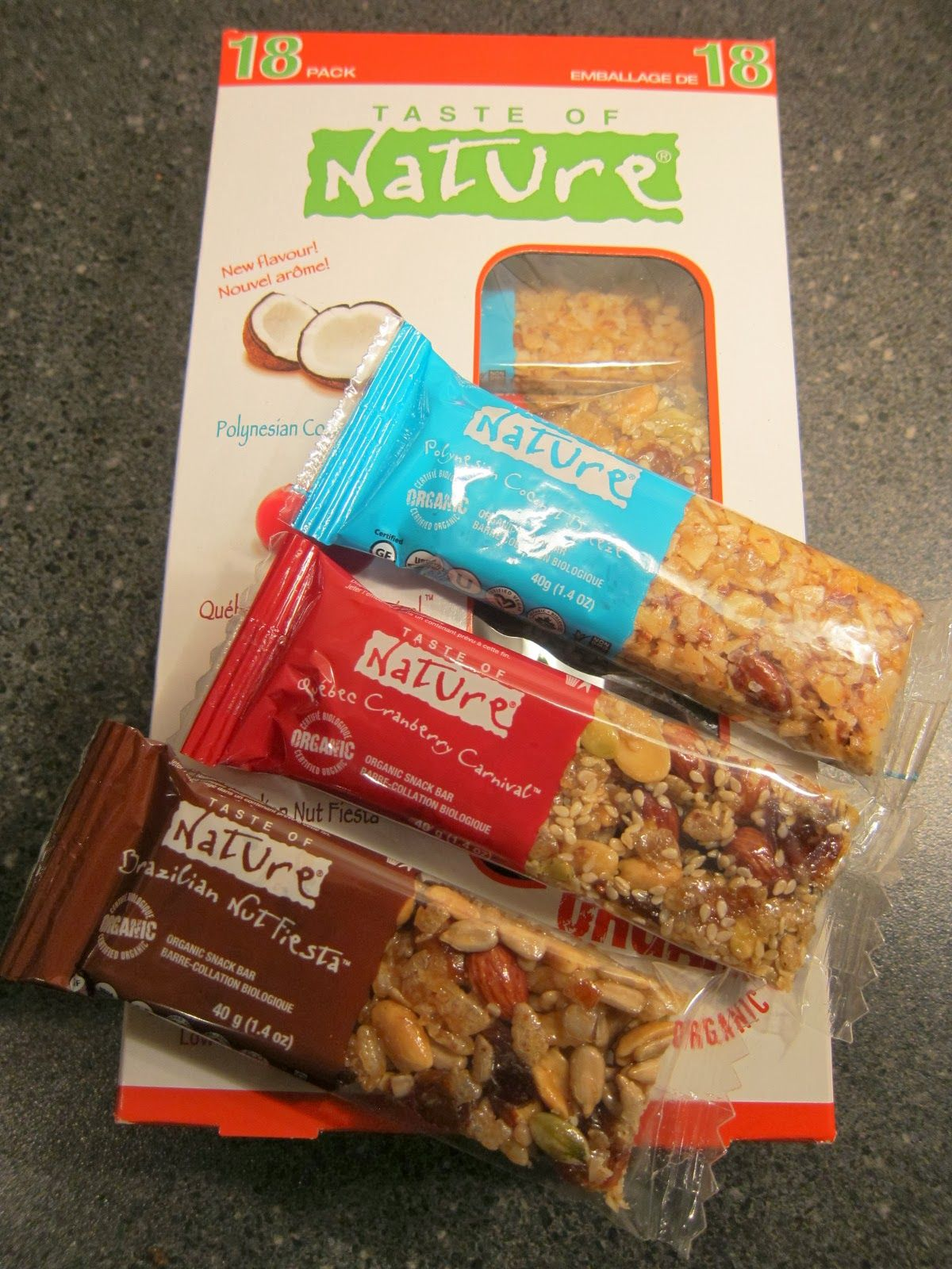 Taste of Nature nut bars (gf and vegan) I get at Costco