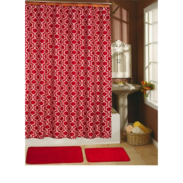 Paragon Red 15 Piece Shower Curtain Hook Bath Rug Set