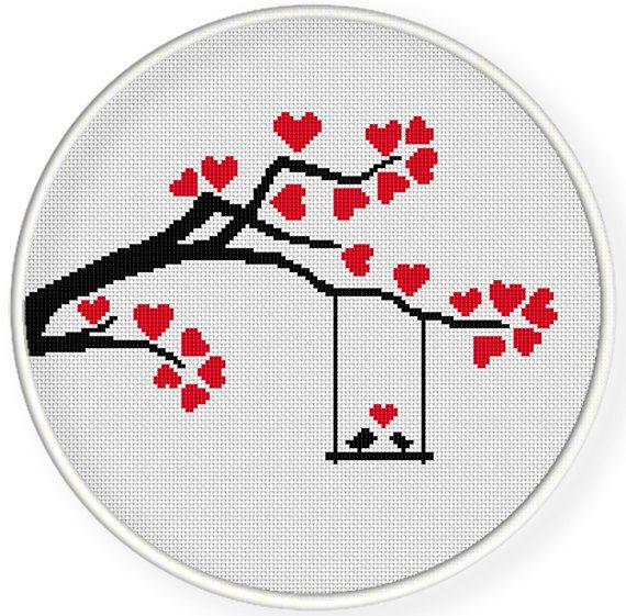 INSTANT DOWNLOAD,Free shippingCounted Cross-Stitch PDF,Love birds, tree,valentines day, wedding,zxxc0658