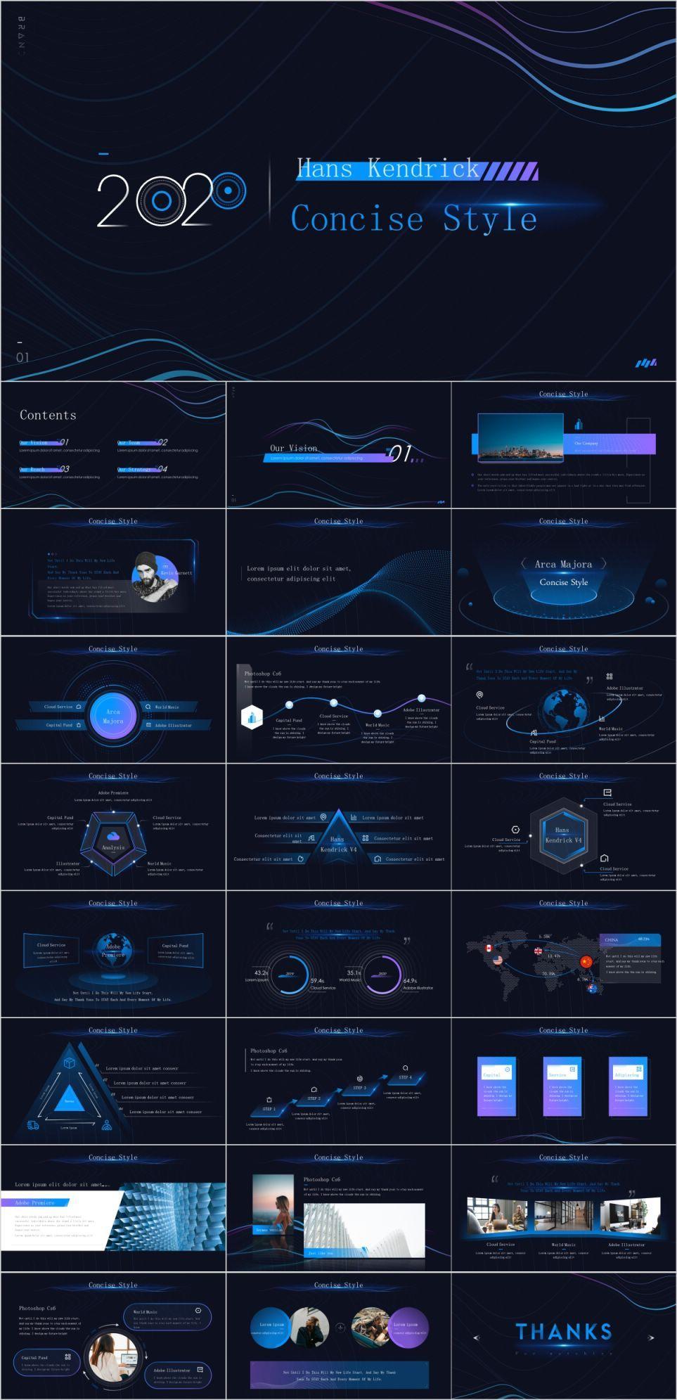 Blue animation technology slides