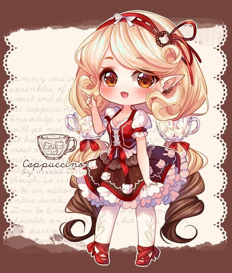 Art By Hyanna Natsu Do You Like Coffee Cappuccino Fairy Vial For An Event On Deviantart More Info T Chibi Anime Kawaii Cute Anime Chibi Chibi Girl Drawings
