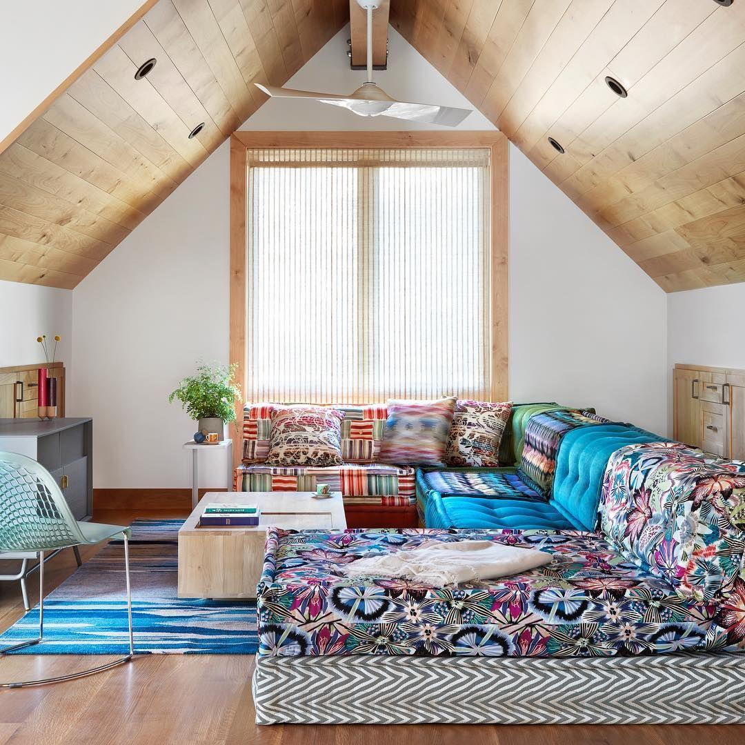 Roche Bobois Mah Jong Sofa Designed By Hans Hopfer Fabrics By Missoni Home Photo By Lisa Petro Living Room Decor Fireplace Floor Seating Living Room Room