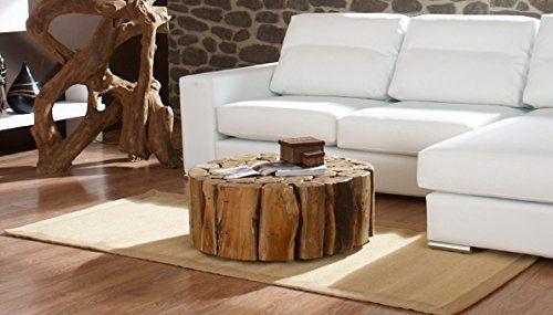 Teak Couchtisch Bega XL 80 cm Wohzimmer Tisch rund Holz massiv