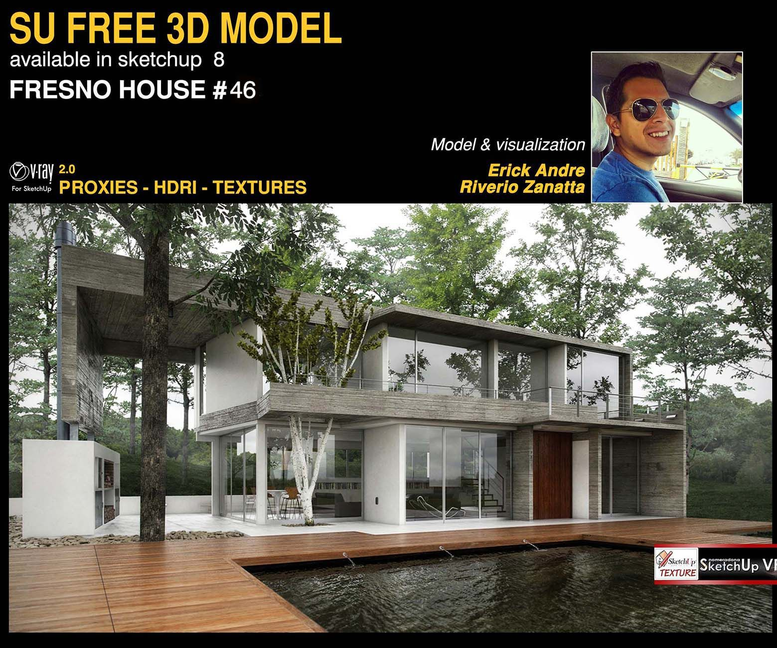 Awesome free sketchup 3d model fresno house 46 httpwww texture seamless sketchup models vray podium and photoshop tutorials resources trends architecture and interior design baditri Images
