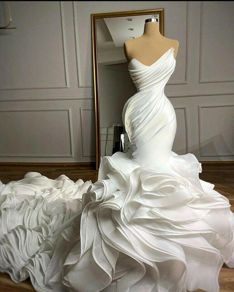 Mermaid Wedding Dresses Sweetheart Organza Ruffles Skirt Custom Made Bridal Gown Wedding Dresses Mermaid Sweetheart Ball Gowns Wedding Wedding Dress Train [ 1000 x 800 Pixel ]