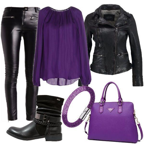 Outfit rock nero e viola composta da pantaloni in similpelle