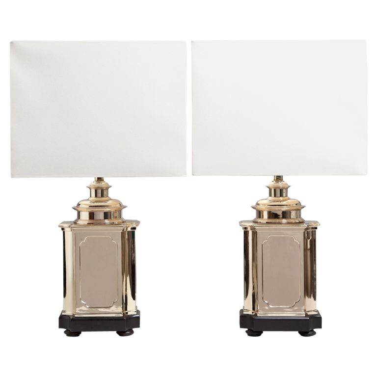 A pair of asian modern polished brass table lamps contenders a pair of asian modern polished brass table lamps mozeypictures Images