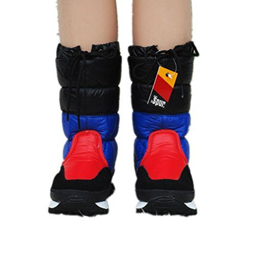 YINHAN Womens Winter Middle Tube Waterproof Draw String Snow Boots Black  And Royal Blue 38 - b9a9db5cde28