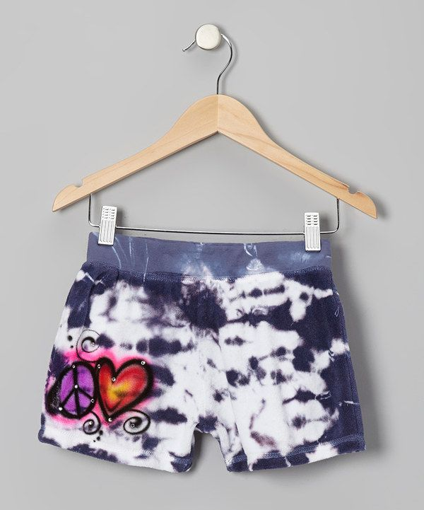 Take a look at this Blue Tie-Dye Peace & Love Shorts - Girls on zulily today!