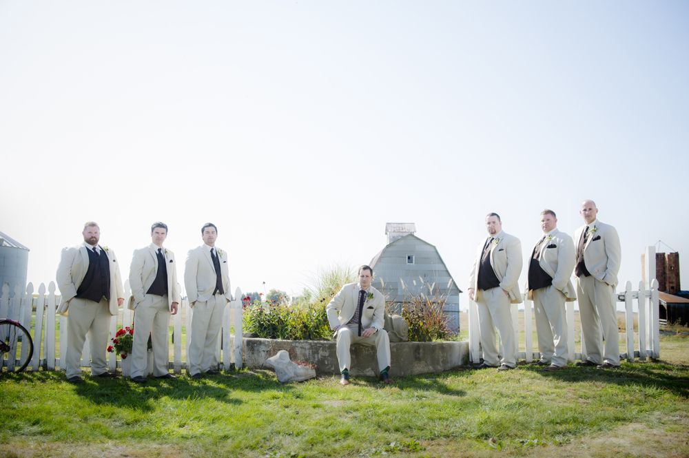 Groom and groomsmen, Tan suits. Dory L Tuohey Photography