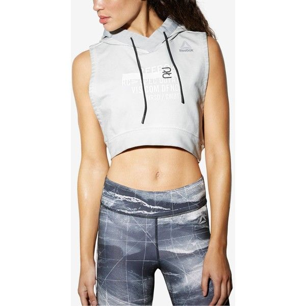 Reebok Combat Glory Cropped Pullover Hoodie ($60) ❤ liked on Polyvore featuring tops, hoodies, skull grey, grey crop top, pullover hoodies, hoodie crop top, grey cropped hoodie and hooded pullover sweatshirt