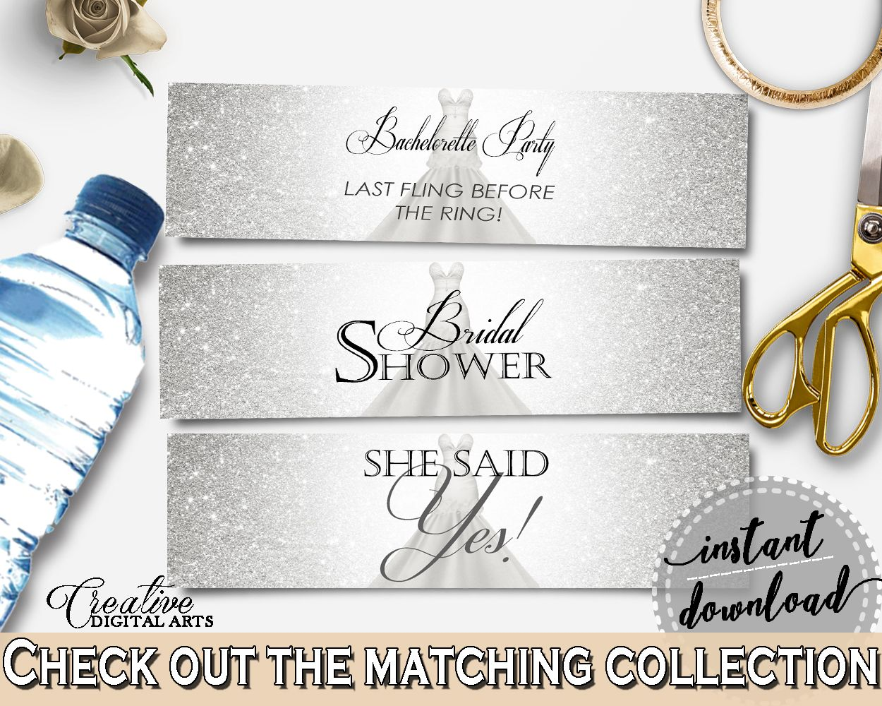 Silver And White Silver Wedding Dress Bridal Shower Theme: Bottle ...