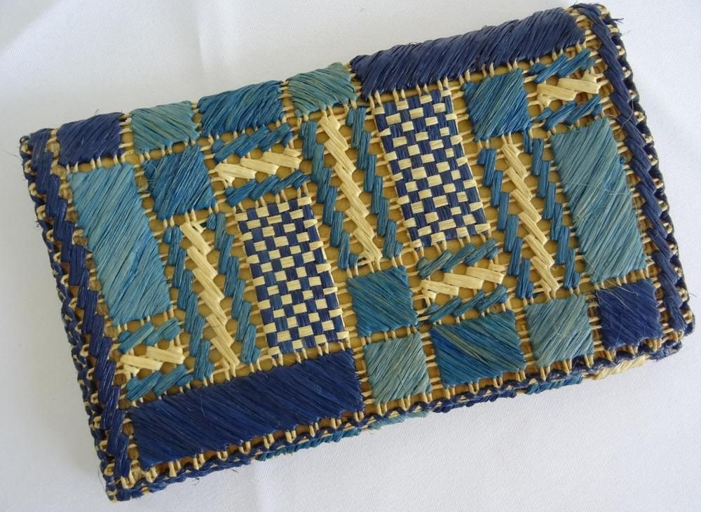94c685e8650 Vintage 1920's Straw Raffia Clutch Purse Bag - Blue & Cream - Art ...