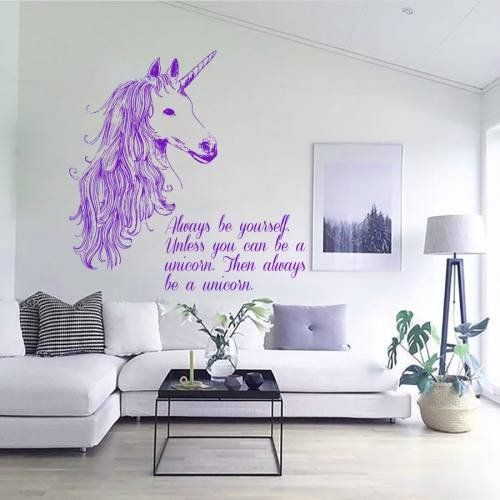 Wall Decals Always Be Yourself Quotes Animals Unicorn Horse Horn Mane Decal Vinyl Sticker Home Decor Room Bedroom Living Room Study Murals More Info Could
