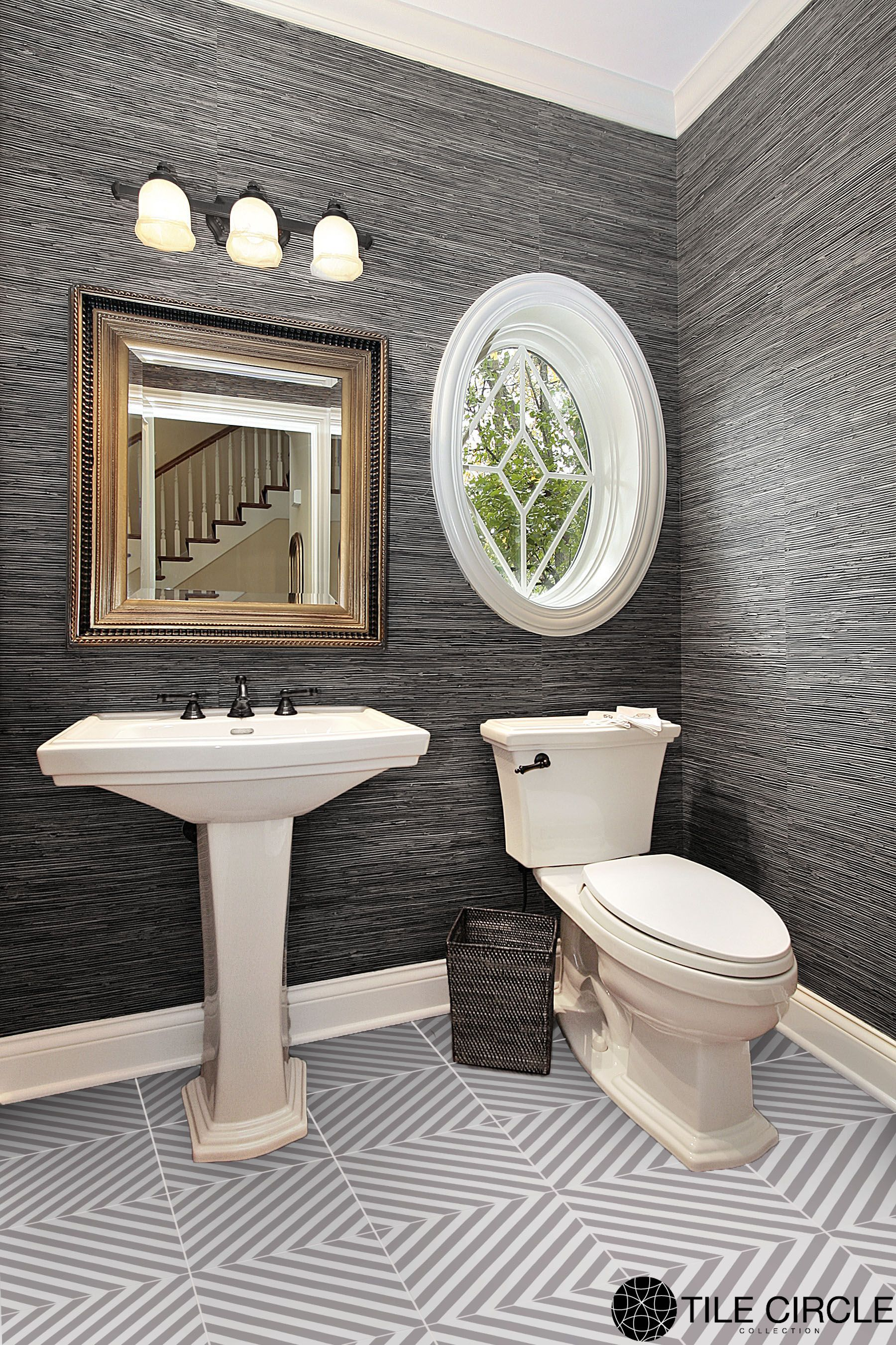 A beautiful classic grey powder room with premier prints striped a beautiful classic grey powder room with premier prints striped ceramic tile by tile circle dailygadgetfo Gallery