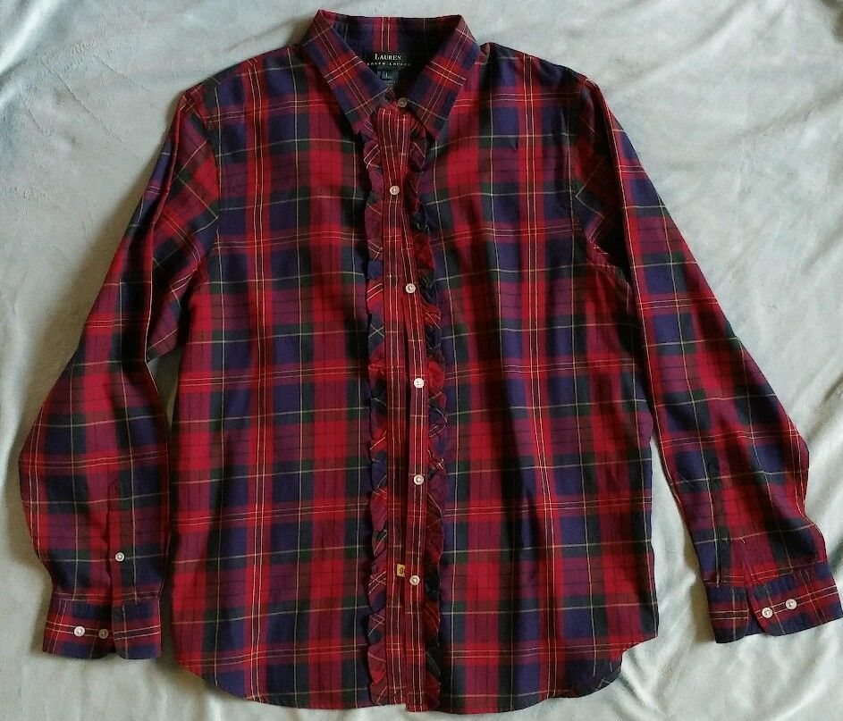 RALPH LAUREN Women's Long Sleeve Button Down TARTAN Red Plaid RUFFLED Shirt  sz L #RalphLauren