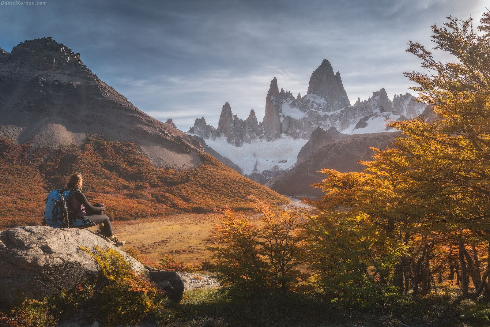 Patagonia hikes - Fitzroy hikes... What a warm memory they left. Although nights were cold sometimes, even down to -8 C, photos we took bring so pleasant memories. Memories from moments when you may just seat and enjoy the Autumn splendor of Patagonia forests and magnificent castle of Fitzroy (Chalten) mountain in front of you. Danielkordan.com