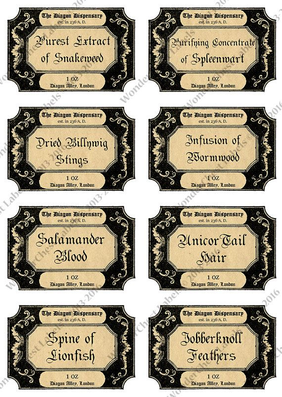 photo regarding Harry Potter Apothecary Labels Free Printable named Harry Potter 8 printable apothecary labels through