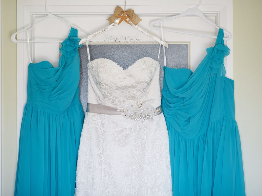 Destination wedding Marco island. Caribbean blue bridesmaid dresses ...