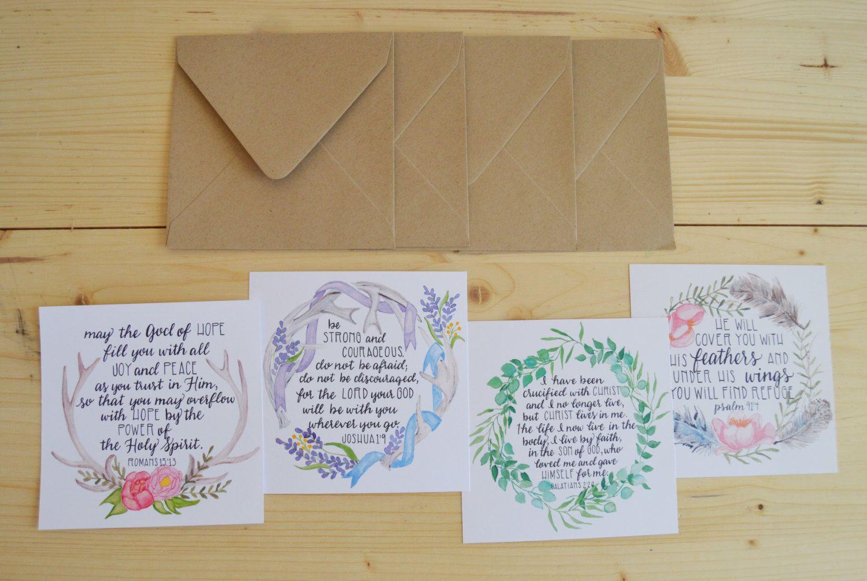 Boho Scripture Greeting Cards Boho Bible Verse Folded Card Set