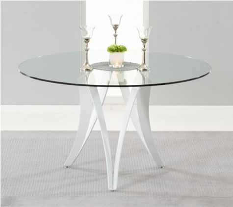 Carly Glass Kitchen Dining Table Modern, Large, Round Glass Table