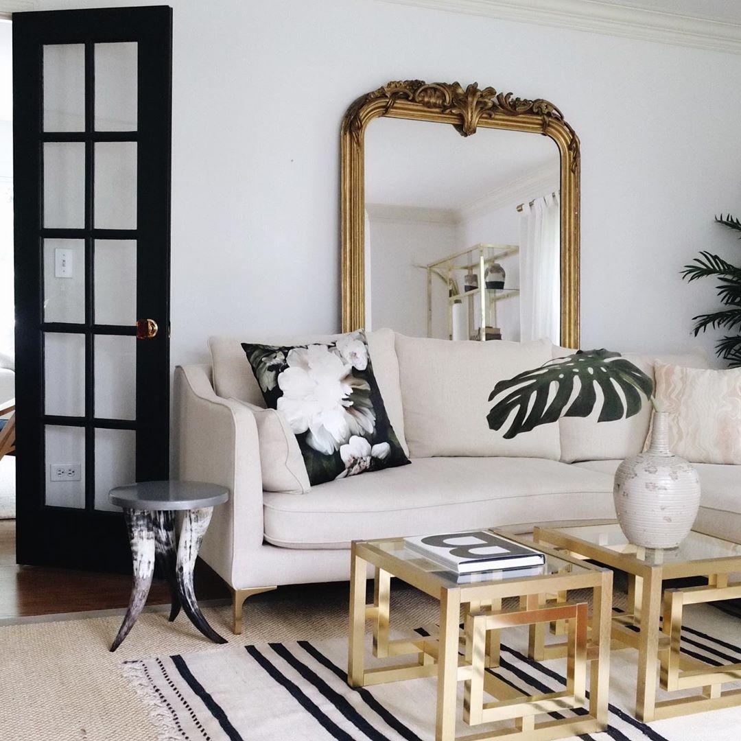 Large Gilt Gold French Mirror Behind Cream Sofa Midcentury Homedecor Livingroom Cream Sofa Living Room Gold Mirror Living Room Interior Design