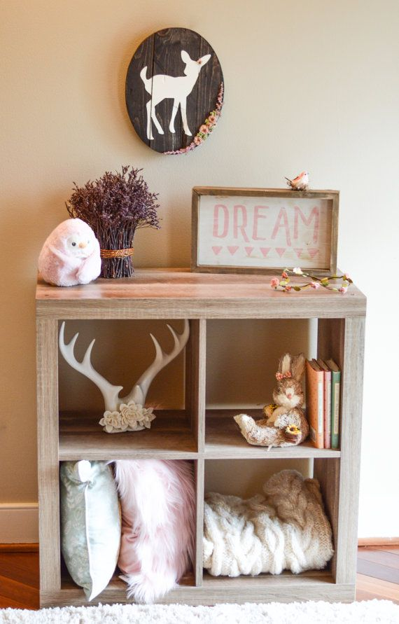 Woodland Baby Bedroom: Rustic Fawn Wall Sign, Woodland Nursery