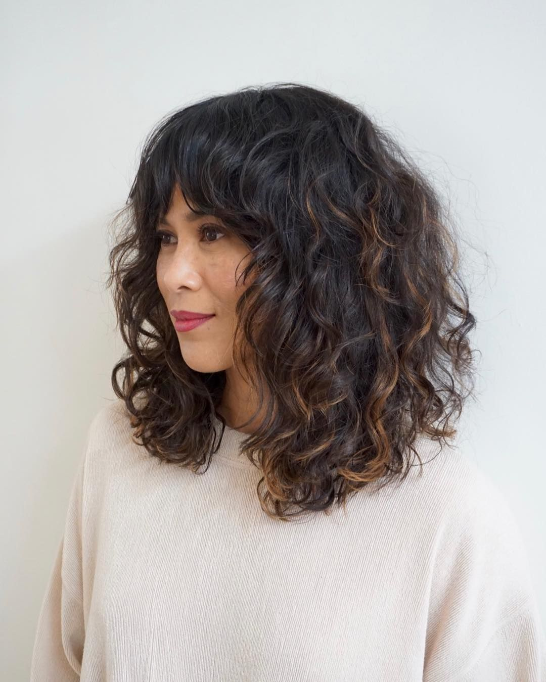 10++ Lob with bangs and layers trends