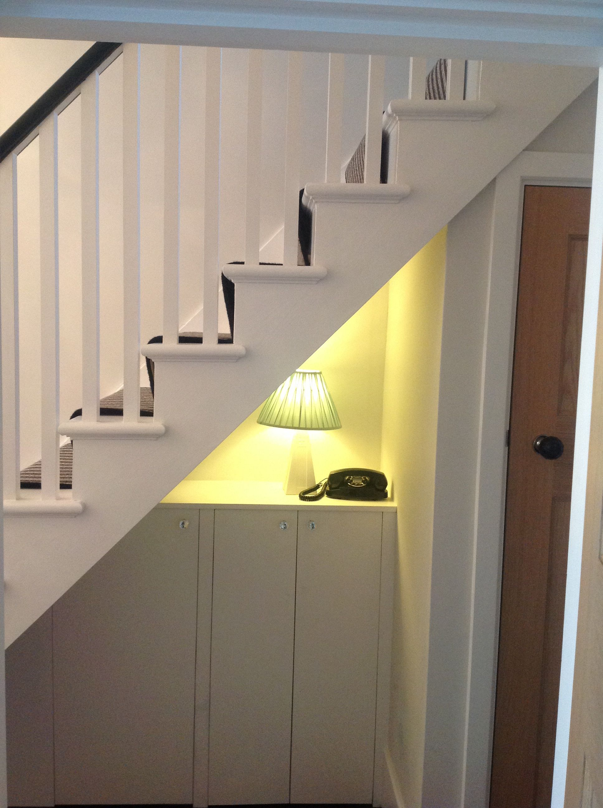 Cupboards under the stairs to hide electric board and meters ...