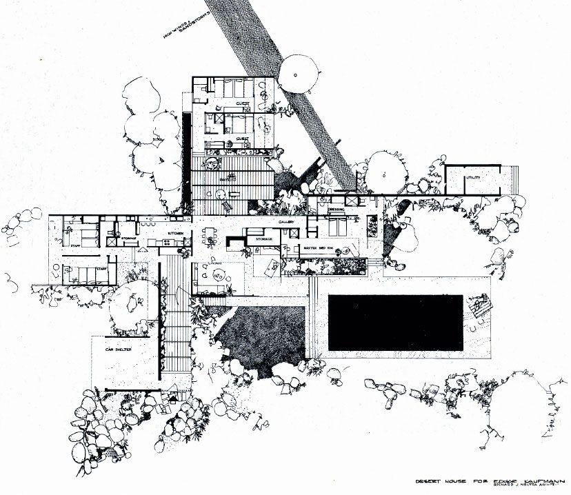 Richard neutra kaufmann house floor plan palm springs for Kaufmann desert house floor plan