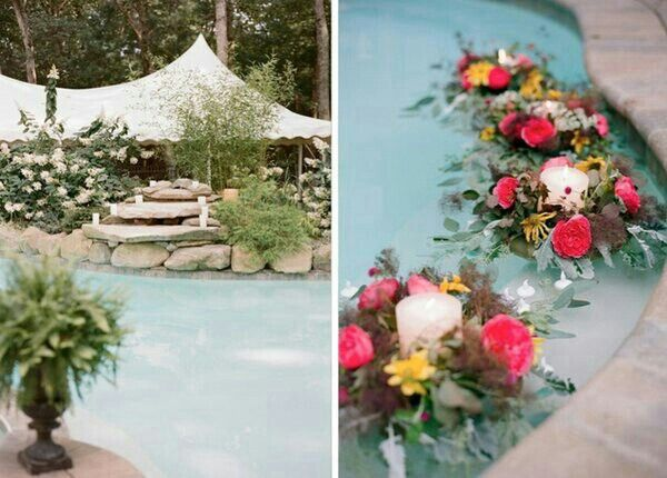 Floating floral arrangements are a great way to extend a decor theme into the parts of your reception venue that may be otherwise untouchable.
