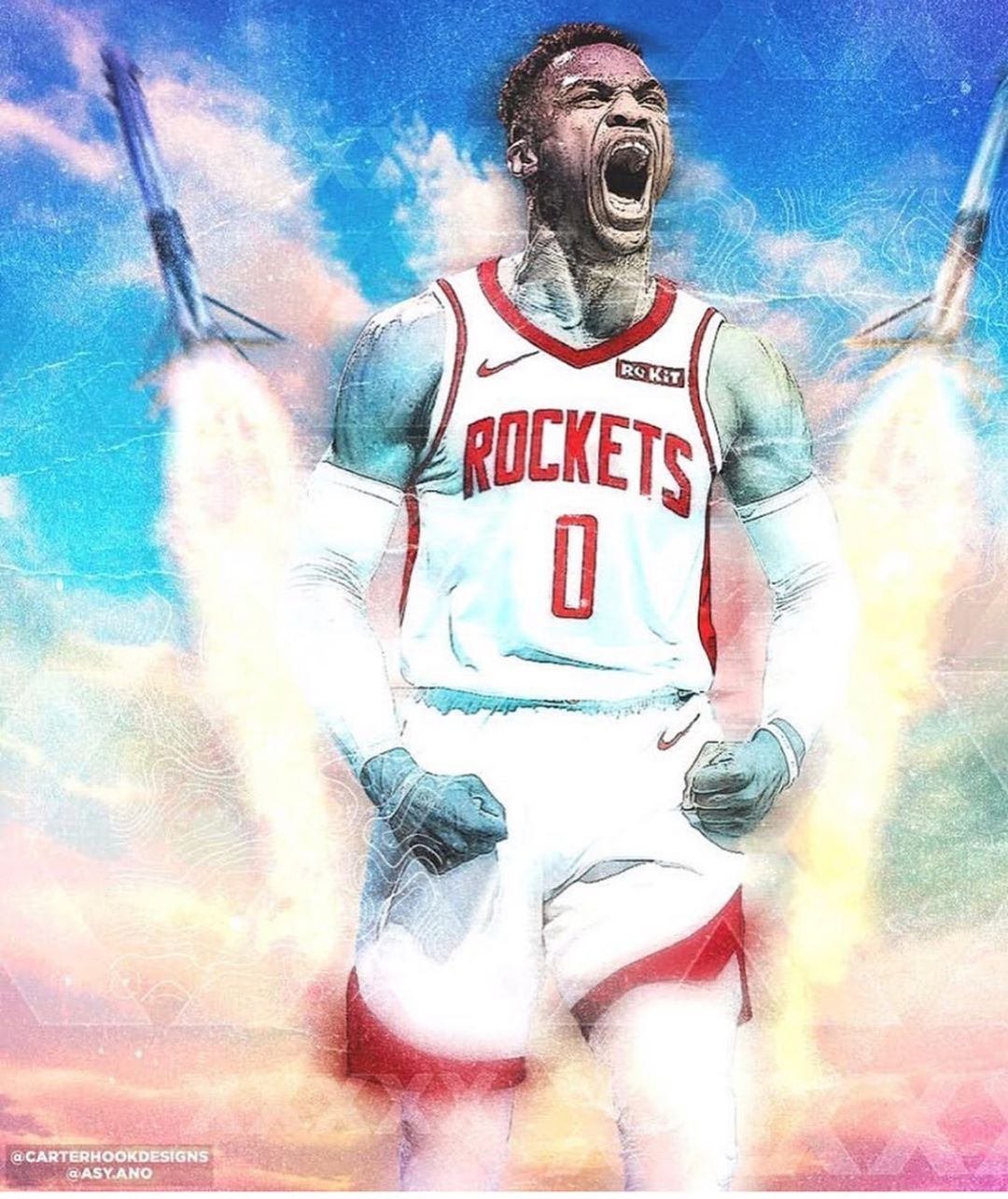 Image May Contain One Or More People Russellwestbrook Houstonrockets Nba Basketball Players Nba Westbrook Wallpapers Nba Basketball Art