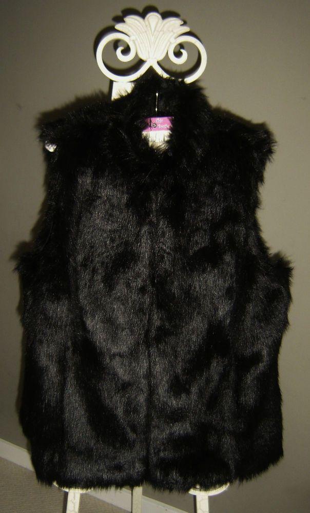 Michael Kors Womens Plus  1X New $300 Black Faux Beaver Fur Vest #MichaelKors