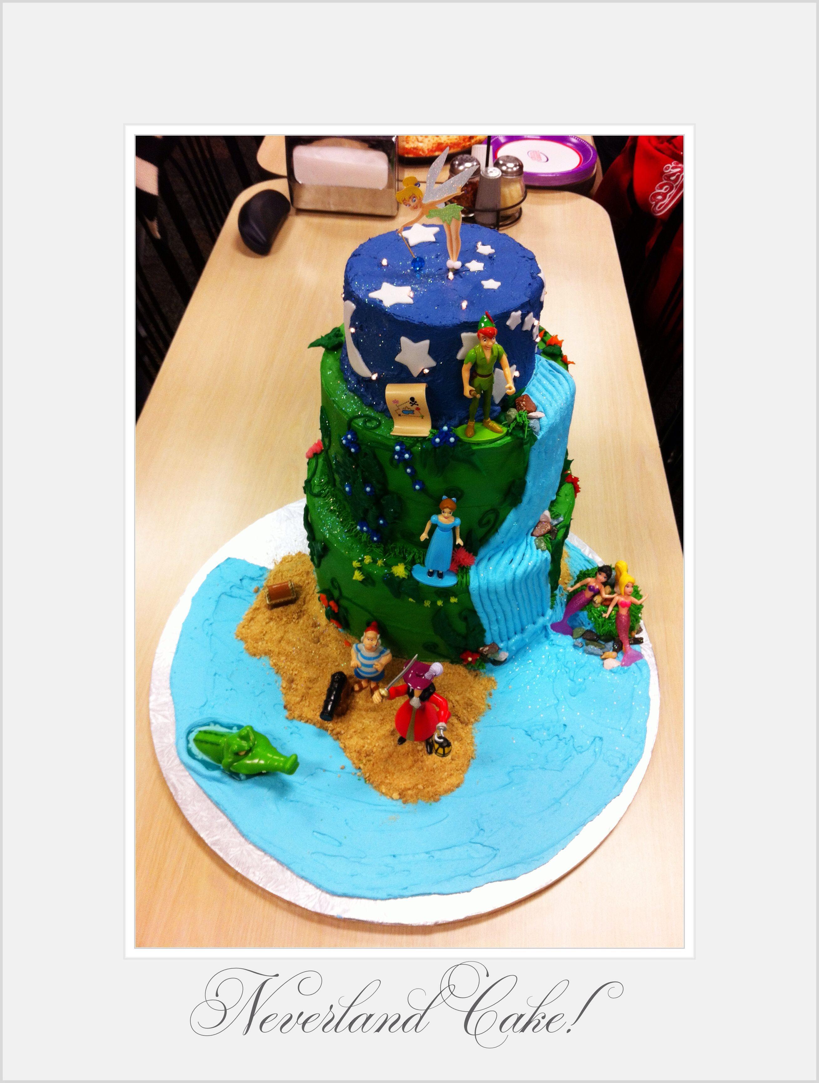 Super Neverland Cake Peter Pan Birthday Cake Tinkerbell Cake Topper Personalised Birthday Cards Paralily Jamesorg
