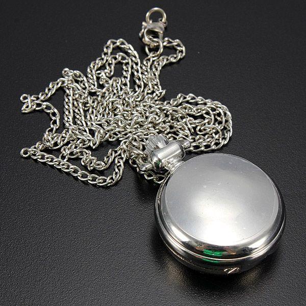 Antique Silver Lotus Kingfisher Necklace Chain Quartz Pocket Watch