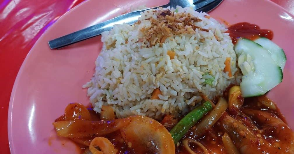 Dinner Nasi Goreng Sambal Udang Yang Sedap Makan Malam Makanan Nasi