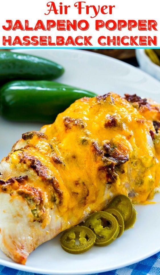Air Fryer Jalapeno Popper Hasselback Chicken - Skinny Southern Recipes #hasselbackchicken