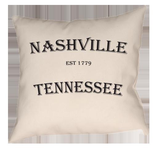 Nashville Established 1779 Single Sided Throw Pillow Throw Pillows Nashville Chattanooga