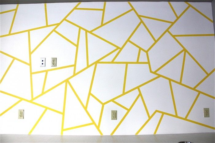 Geometric Triangle Wall Paint Design Idea With Tape