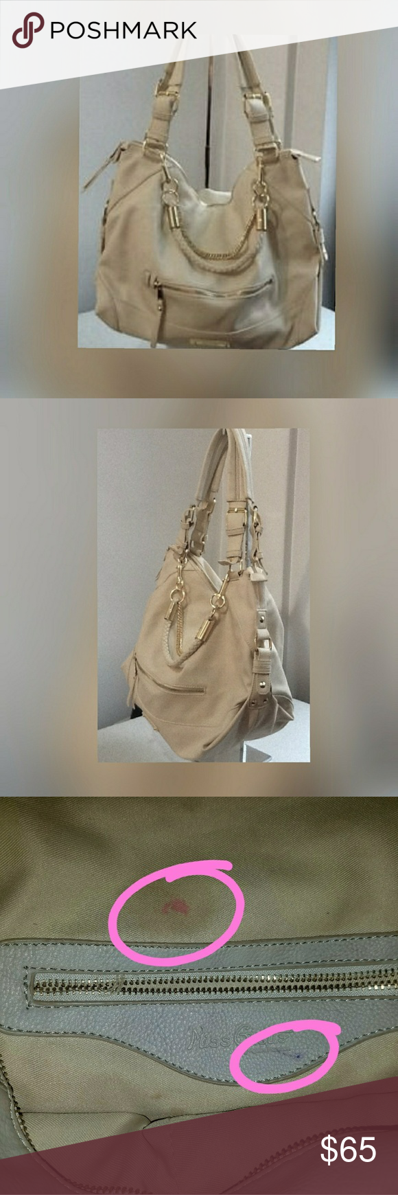 Miss Gustto Handbag Katie Beautiful Large Vegan Leather Hand Bag In Cream Fully Lined Smooth Snag Free Polyester Fabric With Easy To Find Pocket