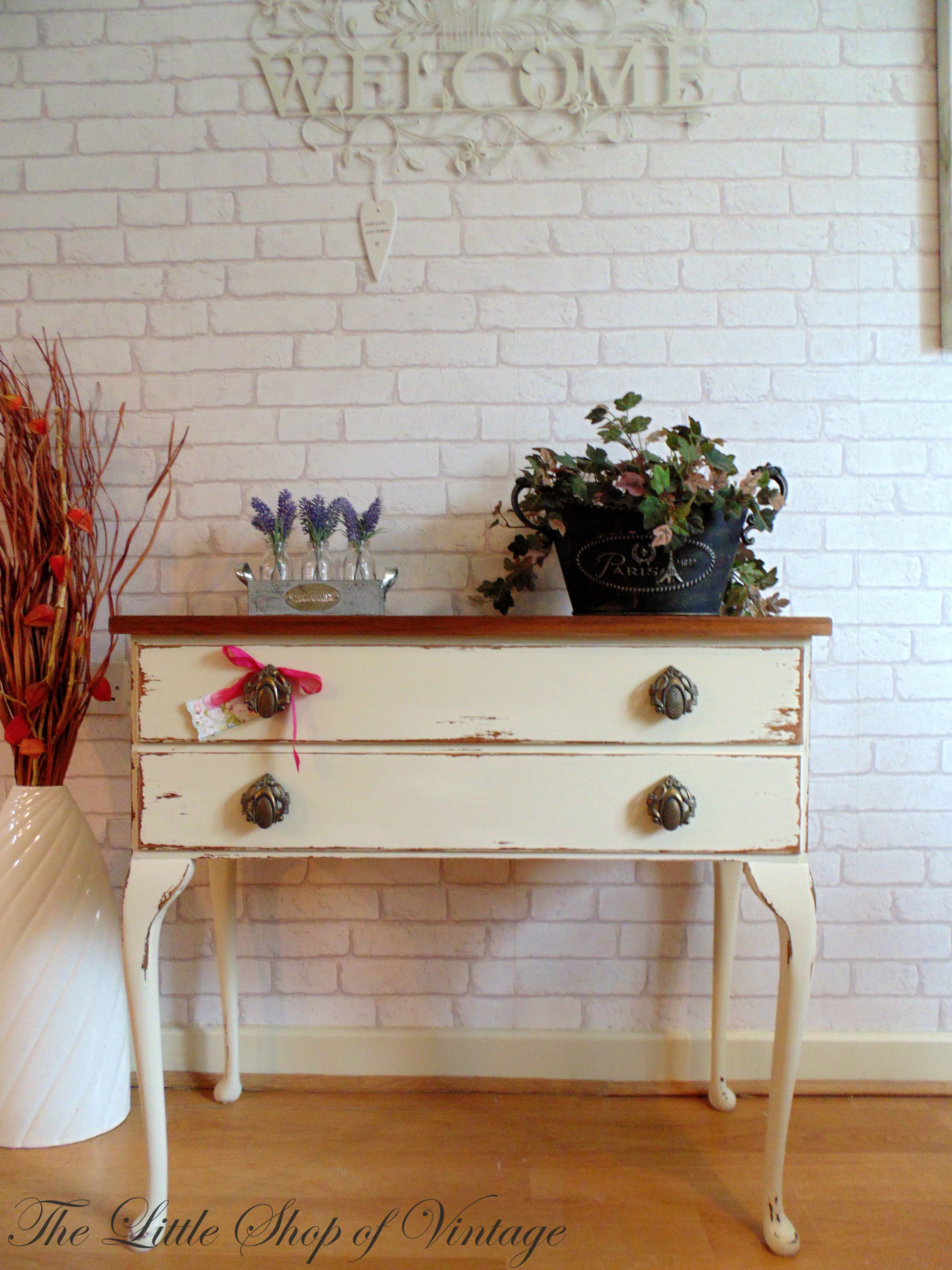 Shabby chic small console table painted in farrow ball off white shabby chic small console table painted in farrow ball off white then distressed beautiful geotapseo Choice Image