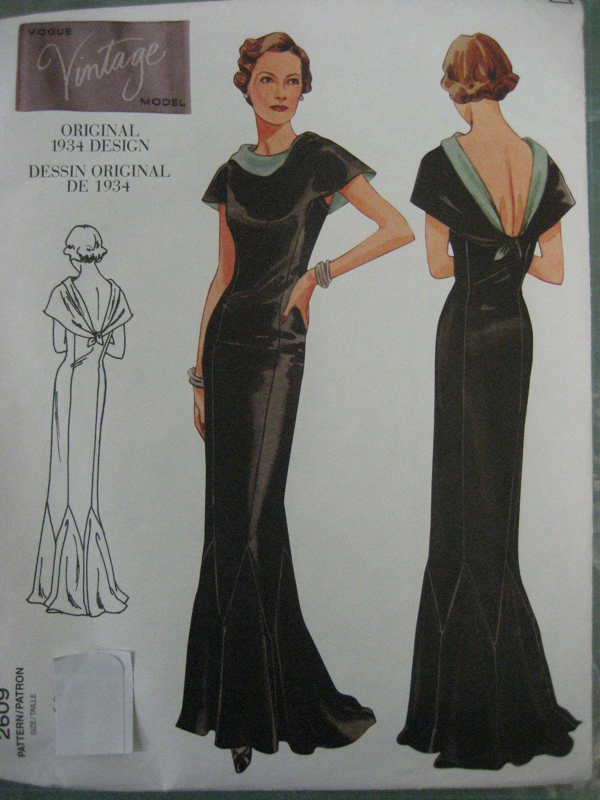 T VOGUE SEWING PATTERN Vintage Model 30\'s Art Deco Evening Dress ...