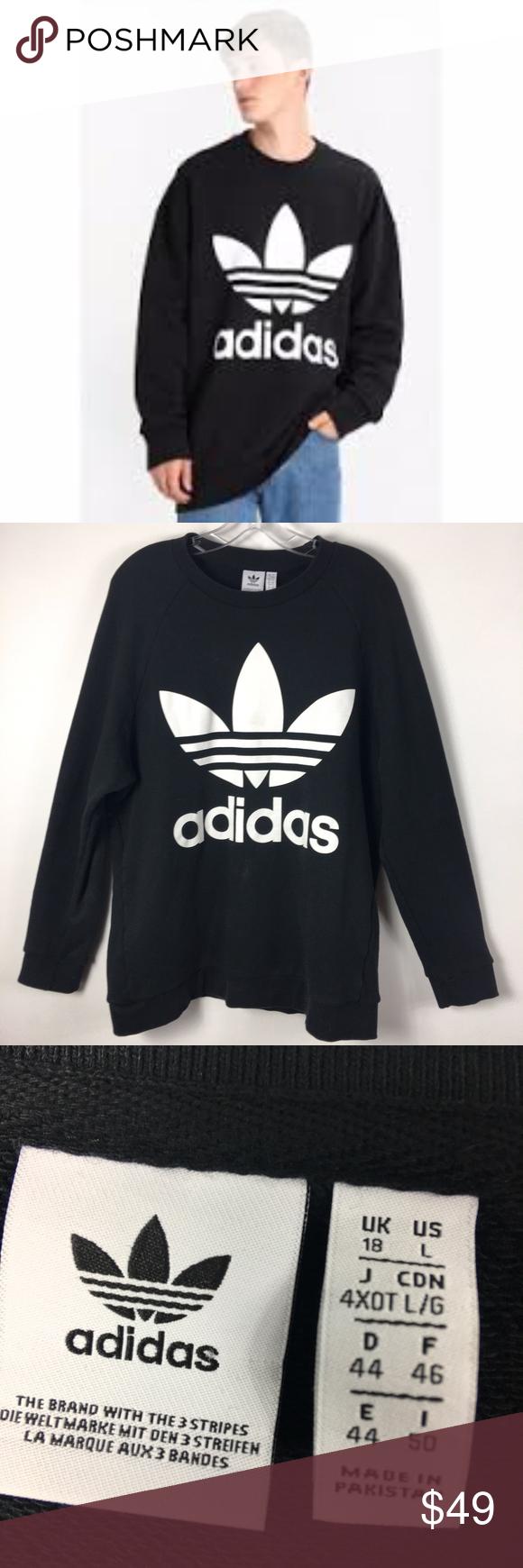 Adidas Original Trefoil Crewneck Sweatshirt Black Black Sweatshirts Crew Neck Sweatshirt Sweatshirt Shirt [ 1740 x 580 Pixel ]